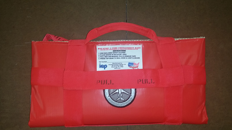red HOT-STOP L fire containment bag