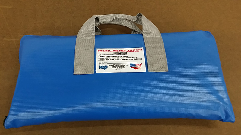 blue HOT-STOP L fire containment bag
