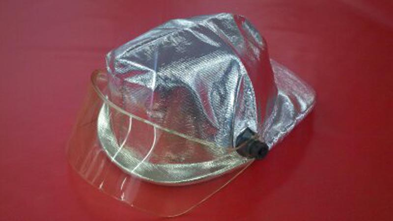 A sample Glastemp protective helmet cover on fire rescue equipment