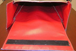 an interior look on one of our large HOT-STOP L fire resistant pouches